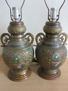 Pair Vintage Chinese Japanese Bronze Enameled Cloisonne Double Handled Urn Lamps