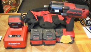 Snap on Ct8850 1 2 Impact Wrench 18v Lithium W 4 Batteries Charger