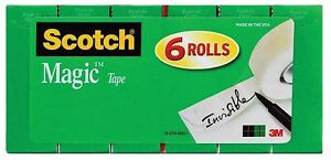 Scotch Magic Tape Writeable Invisible 6 Rolls 3 4 X 1000