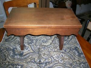 Antique Primitive Wood Foot Stool Vintage Bench Solid Oak 19 Long Beautiful