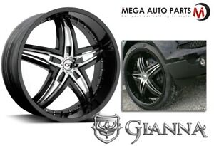 1 X New Gianna Blitz 22x8 5 6x139 7 38 Offset 73 1 Hub Black Wheels Rims