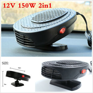 12v Portable Car 150w Heater Hot Cool Fan Windscreen Window Demister Defroster