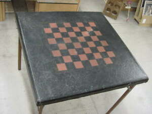 Vintage Samson Shwayder Brothers Chess Checker Board Game Card Table
