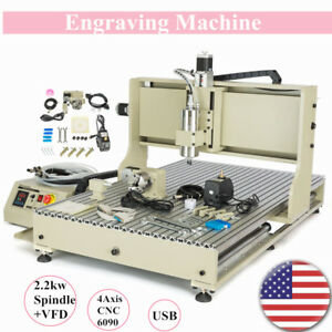 Usb 4 Axis 6090 Cnc Router Engraver 3d Milling Machine 2 2kw Spindle vfd Us
