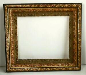 Antique Adamantine Faux Marble Eastlake Shadow Box Picture Frame