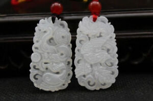 Natural Hand Carved Chinese White Jade Pendant Dragon Phoenix 2pc