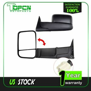 Power Heated Side Manual Flip Up Tow Mirrors Pair For 98 01 Dodge Ram W Brackets