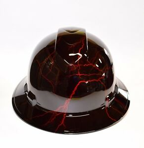 Custom Ridgeline Wide Brim Hard Hat Osha Hydro Dipped Candy Apple Red Lightning