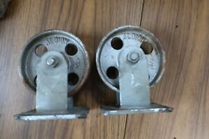 Albion 5 Vintage Steel Casters Set Of 2 Stationary Base