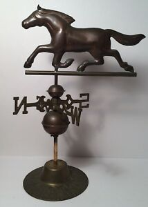 Vintage Antique Brass Copper Table Top Weather Vane Running Horse 14 Tall