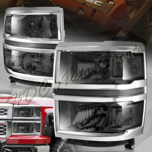 For 2014 2015 Chevy Silverado 1500 Smoke Lens W Clear Reflector Headlights Lamps
