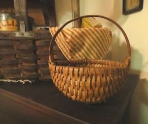 Antique Victorian Early Small Market Melon Basket With Nails Primitive Folky