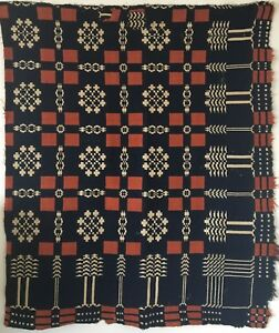 Beautiful 1850 1860 Early American Woven Wool Coverlet Piece 2521