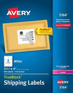 1200 Avery 5164 White 3 1 3 x 4 Shipping Labels For Laser Printer 2 Boxes Of600