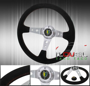 Suede Leather Red Stitching Chrome Center Green Yellow Button Steering Wheel Jdm
