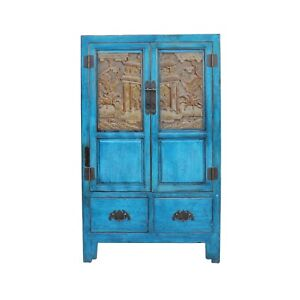 Chinese Distressed Bright Blue Golden Brown Carving Storage Cabinet Cs4561