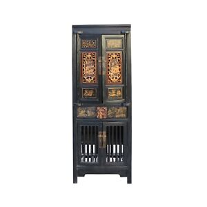 Chinese Black Golden Carving Narrow Wood Storage Wardrobe Hutch Cabinet Cs4563