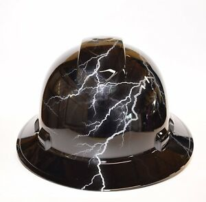 Custom Ridgeline Widebrim Hard Hat Osha Hydro Dipped In Black Silver Lightning