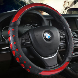 Universal Suv Car Steering Wheel Cover Anti slip Red Leather Heart Laser 15