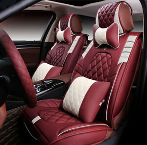 Universal Car Seat Cover Cushion Headrest Front Rear 5 Seats Luxury Leather 20pc