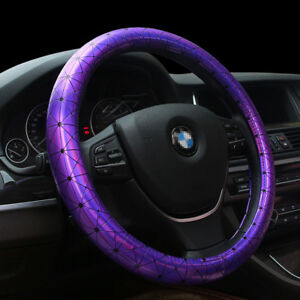 Universal 38cm Car Steering Wheel Cover Anti slip Laser Purple Leather 15 Inches