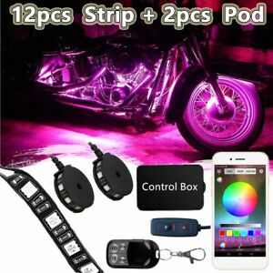 14pcs Motorcycle Bluetooth Rgb Led Underglow Underbody Neon Accent Light Strip