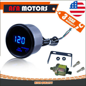 2 52mm Oil Pressure Gauge Digital Blue Led 120 Psi With Sensor For Auto Car Hot