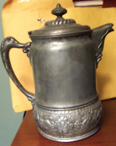 Wilcox Silverplate 12 Water Pitcher Ceramic Liner 1878 Uncleaned Good Condition