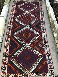 3x8 Vintage Boho Handmade Wool Persian Tribal Anatolian Turkish Kilim Runner Rug