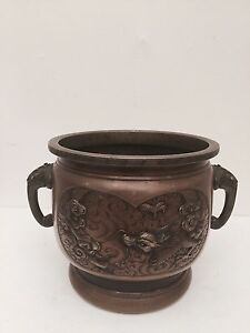 Antique Heavy Brass Chinese Coal Pot 40 Off Now