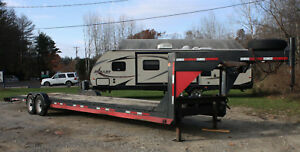 Trail Master 45 Gooseneck 2 Car Hauler Flatbed Trailer With 9k Lbs Winch