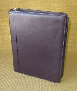Classic 1 5 Rings Burgundy Leather Franklin Covey quest Zip Planner binder