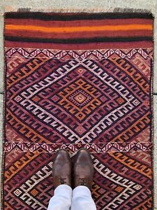 3x5 Baloch Vintage Handmade Bakhtiari Tribal Persian Kurdish Antique Rug Runner