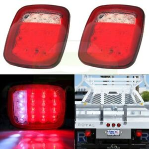2pcs Red white Stud Mount Stop Turn Signal Lamp 16 Led Trailer Truck Tail Light