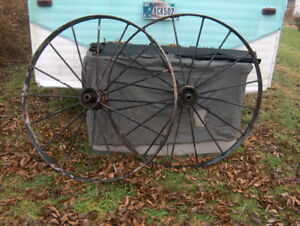 Antique Steel Spoked Wagon Implement Wheels Cast Iron Hub Horse Drawn Rustic 48