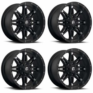 Set 4 18 Fuel Hostage D531 Black Wheels 18x12 8x170 44mm Lifted Ford 8 Lug