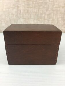 Vintage Wooden Dovetailed Box Recipe Library Card File Hinged