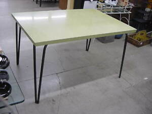 Rare Vintage Jefferson Co Dining Table W Leaf Metal Hair Pin Legs No Chairs