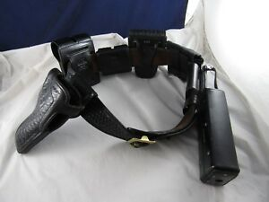 Leather Police Sz 32 Duty Gear Belt W 6 Accessories Incl Holster Safari Don Hume