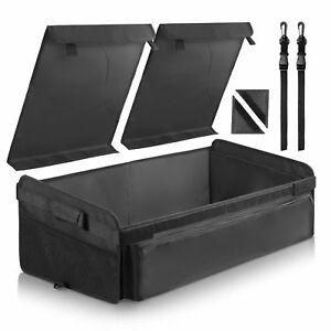 Folding Truck Organizer Auto Storage Bag Box Black With Straps For Car Truck Suv