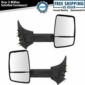 Mirror Manual Velvac Style Long Arm Textured Black Pair Set For 99 10 Ford Sd