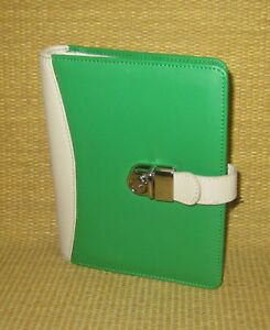Compact 1 Rings new Green cream Leather Lock Franklin Covey Planner binder