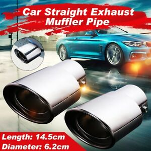 Pair Chrome 2 5 Inch Rear Oval Exhaust Muffler Pipes Tips Stainless Steel Us