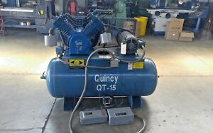 Quincy Qt 15 Hp Screw Air Compressor 120 Gal Tank W motor Starter fully Tested