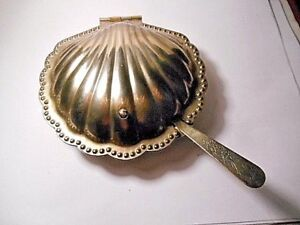 Vintage Leonard Silver Plated Clam Shell Butter Dish Glass Liner Ornate Spreader