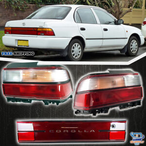Fits 1993 1997 Toyota Corolla Tail Lights And License Board Set 3 Pcs