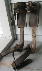 Antique Lineman Pole Climbing Climbers W leather Straps W Stevens Binghamton Ny