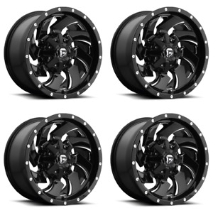 Set 4 20 Fuel Cleaver 20x9 Gloss Black Milled Wheel 8 Lug 8x170 01mm Ford Truck
