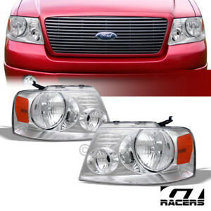 For 2004 2008 Ford F150 Oe Chrome Housing Headlights Signal Lamps Amber Pair Dy