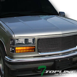 Topline For 1994 2000 Gmc C10 C k Sierra Blk Headlights led Bumper corner Lights